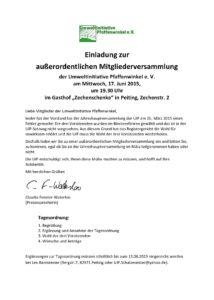 Einladung zur außerordentlichen Mitgliederversammlung der UIP am 17. Juni 2015 um 19.30 Uhr in der Zechenschenke in Peiting
