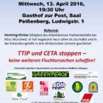 Einladung zum Vortrag von Henning Hintze 13.04.2016 in Peißenberg: TTIP vergrößert Armut in Entwicklungsländern
