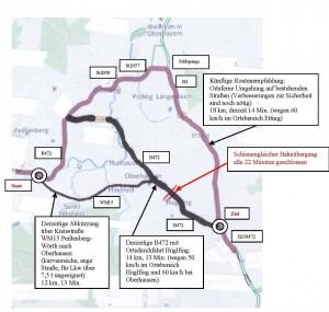 Skizze Umfahrung von Huglfing und Oberhausen