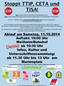 Aufruf zur Anti-TTIP-Demo in Weilheim am 11.10.14