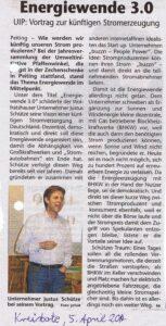 """Bericht von der Jahreshauptversammlung 2014 mit Vortrag von Justus Schütze über die """"Energiewende 3.0"""" (Kreisbote Schongau 05.04.2014)"""