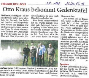Gedenktafel am Lech für Naturschützer Prof. Otto Kraus (Foto: FKN)