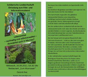 Einladung zu einem Vortrag über Solidarische Landwirtschaft am 30.09.2015 in Murnau